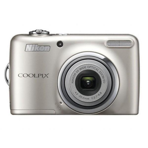 Aparat foto digital Nikon COOLPIX L23, 10MP, zoom optic 5×, video VGA + Pachet: card 2GB + geanta Promo Pounch L series (ALM22000) + incarcator Energizer cu 2 acumulatori (COOLPIX L23 (silver))