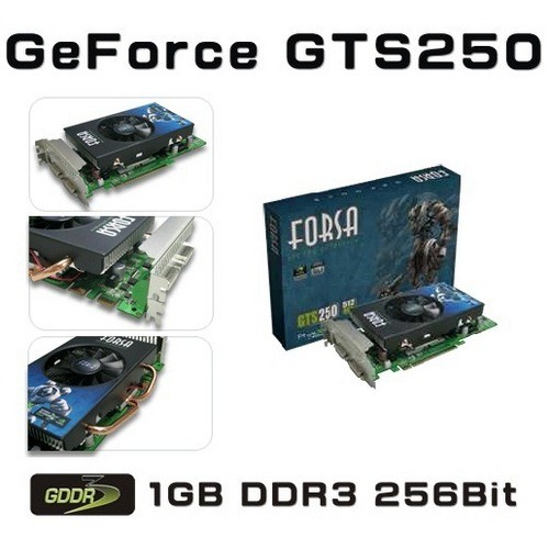 Placa video Forsa Nvidia GeForce GTS250 1024MB DDR3, 256bit, PCI-Ex (FSXFXGT250DDR3/1G/256)