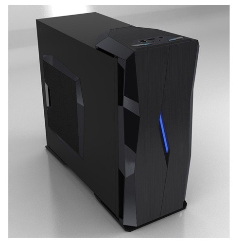 Carcasa MaxCube Amoris 6010 Gaming Tower Case, W/out PS, 4USB 2.0 + eSATA + Audio + Mic, 2 x 12cm Blue Led Fan, Clear CMOS, Security Lock, Support Liquid cooling system, Cable Clips, Aluminium front bazel, Black (Amoris-6010)