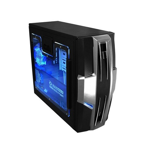 Carcasa RAIDMAX AZTEC, 2xUSB2.0 Audio, Mic, 80mm black fan, transparent side panel with 2x80mm blue led fan,120mm blue led fan-front, 80mm blue led fan-rear, Black with Aluminium panel and ventilation grill (RMX-AZBK)