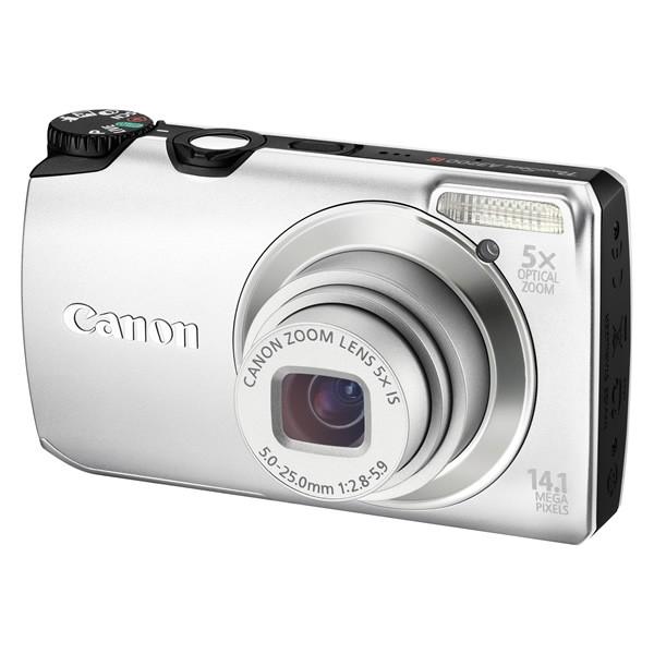 Aparat foto digital CANON  PowerShot A3200 IS argintiu 14.1MP, zoom optic 5×, video HD + Pachet: card 2 GB + geanta CaseLogic  (AJ5039B002AA-K)