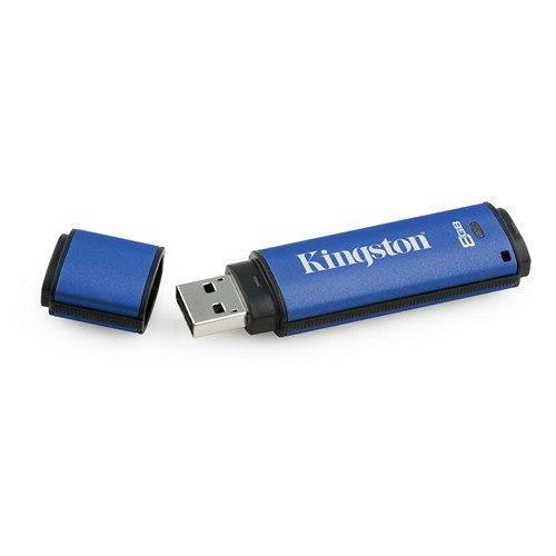 USB flash drive Kingston 8GB DTVP w/256bit Encryption +100% Privacy / albastru (DTVP/8GB)