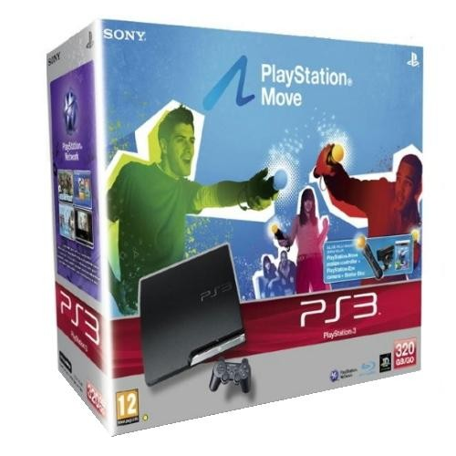 Consola SONY PlayStation 3 Slim 320GB Black + Move Starter Pack(Camera web + Motion Controller Wireless PS Move + Starter Disc) (SO-9182870)