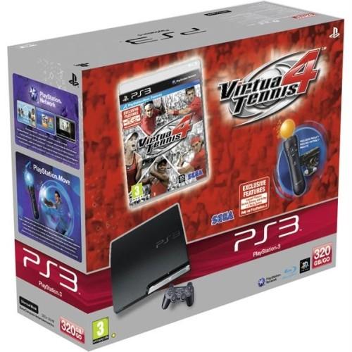 Consola SONY PlayStation 3 Slim 320GB Black + joc Virtua Tennis + Camera web + Motion Controller Wireless PS Move (SO-9118299)