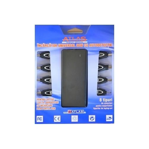 Incărcător universal laptop AC Input, Output:19V, Total Power: 90W cu autodetectie si alimentare la 220V, USB port, 8 conectori inclusi (ILUNI90)