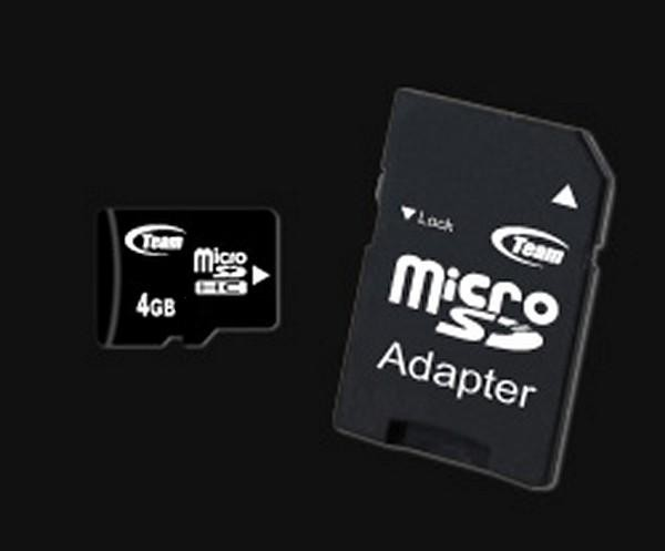 Memorie flash card TEAMGROUP TG004G0MC24B 4GB Secure Digital microSDHC Class 4, adaptor