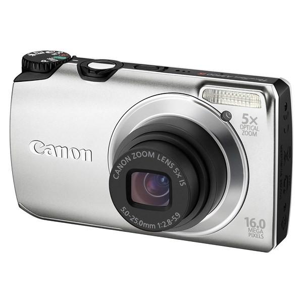 Aparat foto digital CANON PowerShot A3300 IS argintiu 16.0 MP, zoom optic 5×, video HD + Pachet: card 2 GB + geanta CaseLogic  (AJ5033B002AA-K)