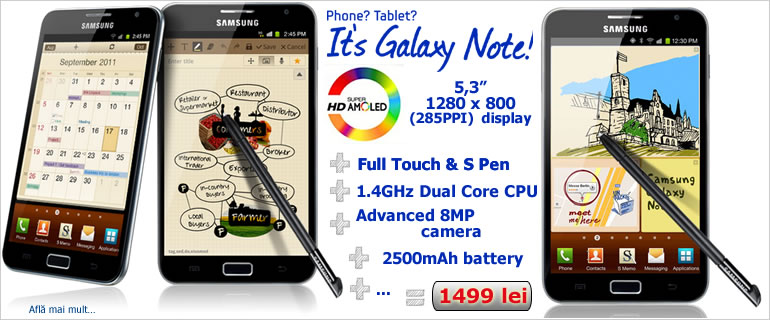Tableta Telefon mobil Samsung Galaxy Note N7000 dark blue