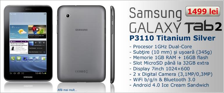 Tableta Samsung Galaxy Tab2 P3110 7.0  WiFi Titanium Silver